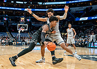 WASHINGTON, DC - FEBRUARY 19: Jagan Mosely #4 of Georgetown blocks David Duke #3 of Providence during a game between Providence and Georgetown at Capital One Arena on February 19, 2020 in Washington, DC.