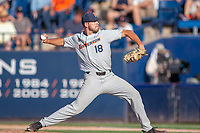 Cal State Fullerton Titans Brett Conine (18) delivers a pitch to the plate against the University of Washington Huskies at Goodwin Field on June 09, 2018 in Fullerton, California. The Cal State Fullerton Titans defeated the University of Washington Huskies 5-2. (Donn Parris/Four Seam Images)