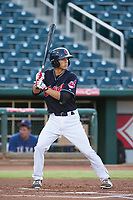 AZL Indians shortstop Tyler Freeman (7) at bat against the AZL Rangers on August 26, 2017 at Goodyear Ball Park in Goodyear, Arizona. AZL Indians defeated the AZL Rangers 5-3. (Zachary Lucy/Four Seam Images)