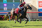 DEL MAR, CA  AUGUST 18: #1 Prince Earl, ridden by Geovanni Franco, in the stretch of the Del Mar Mile (Grade ll) on August 18, 2019 at Del Mar Thoroughbred Club in Del Mar, CA.  ( Photo by Casey Phillips/Eclipse Sportswire/CSM)