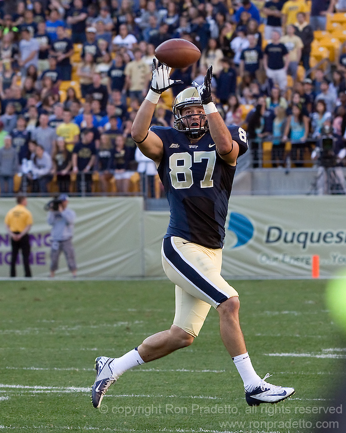Pitt wide receiver Mike Shanahan makes a 77-yard catch/run for a touchdown in the 3rd quarter. The Pitt Panthers defeated the Gardner-Webb Runnin Bulldogs 55-10 at Heinz Field, Pittsburgh PA on September 22, 2012..