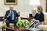 President Joe Biden meets with U.S. Senator Shelley Moore Capito, R-W.V. to talk about passing an infrastructure bill on Wednesday, June 2, 2021 in the Oval Office of the White House. (Official White House Photo by Adam Schultz)