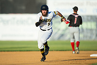 Daniel Rockett (9) of the Sussex County Miners hustles towards third base against the New Jersey Jackals at Skylands Stadium on July 29, 2017 in Augusta, New Jersey.  The Miners defeated the Jackals 7-0.  (Brian Westerholt/Four Seam Images)