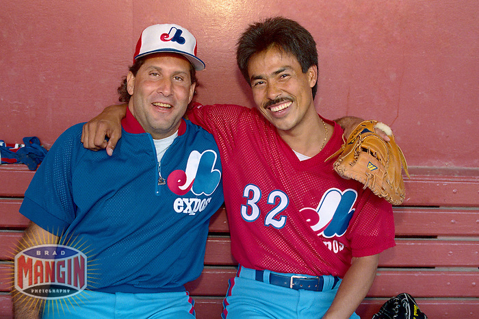 SAN FRANCISCO, CA - Ron Hassey and Dennis Martinez of the Montreal Expos pose for a picture the day after them teamed up to throw and catch a perfect game at the Los Angeles Dodgers before a game against the San Francisco Giants at Candlestick Park in San Francisco, California in 1991. Photo by Brad Mangin