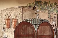 France/2B/Haute Corse/Nebbio/Saint-Florent: Mur peint d'un restaurant représentant une cave du vignoble local de Patrimonio