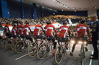 Team Lotto-Soudal facing the (impressive) crowd during the race start team presentation in the legendary Kuipke Velodrome<br /> <br /> 72nd Omloop Het Nieuwsblad 2017