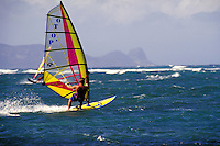 Windsurfers riding the waves at Spreckelsville beach.  Speed, color, sports, recreation, surf sailing, sail, sailboard, youth, man, wind. Kahului Hawaii USA Maui.