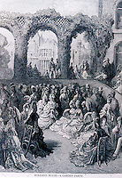 """London: Gustave Dore--""""Holland House--a Garden Party"""" , 1872.  Reference only."""