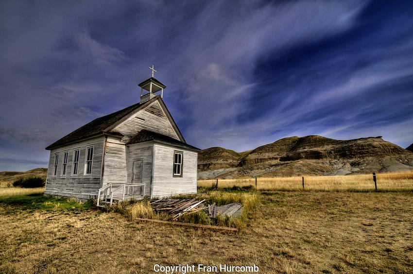 Abandoned church at Dorothy Alberta, in the badlands near Drumheller.