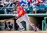 25 February 2019: Washington Nationals catcher Taylor Gushue in action during a pre-season Spring Training game against the Atlanta Braves at Champion Stadium in the ESPN Wide World of Sports Complex in Kissimmee, Florida. The Braves defeated the Nationals 9-4 in Grapefruit League play in what will be the Braves' last season at the Disney / ESPN Wide World of Sports complex. Mandatory Credit: Ed Wolfstein Photo *** RAW (NEF) Image File Available ***
