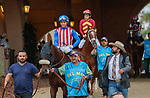 """DEL MAR, CA  AUGUST 21: #1 Media Blitz, ridden by Umberto Rispoli, in the post parade of the Del Mar Handicap (Grade ll) Breeders Cup """"Win and You're In"""" Turf Division on August 21, 2021 at Del Mar Thoroughbred Club in Del Mar, CA  (Photo by Casey Phillips/Eclipse Sportswire/CSM)"""