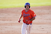James Parker (15) of the Clemson Tigers in Game 2 of the Orange-Purple intrasquad scrimmage series on Saturday, November 21, 2020, at Doug Kingsmore Stadium in Clemson, South Carolina. Orange won, 3-1. (Tom Priddy/Four Seam Images)