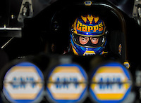 Aug 31, 2014; Clermont, IN, USA; NHRA funny car driver Ron Capps during qualifying for the US Nationals at Lucas Oil Raceway. Mandatory Credit: Mark J. Rebilas-USA TODAY Sports