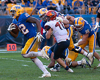 Pitt running back Darrin Hall (22) scores on a 7-yard touchdown run. The Pitt Panthers defeated the Syracuse Orange 44-37 in overtime at Heinz Field in Pittsburgh, Pennsylvania on October 6, 2018.