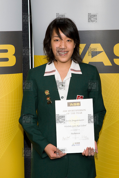 Girls Badminton winner Jessica Jonggowisastro from Westlake Girls High School. ASB College Sport Young Sportperson of the Year Awards 2008 held at Eden Park, Auckland, on Thursday November 13th, 2008.