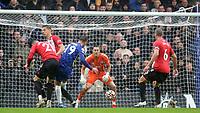 Mason Mount of Chelsea takes a shot at the Southampton goal during Chelsea vs Southampton, Premier League Football at Stamford Bridge on 2nd October 2021