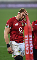 Alun Wyn Jones - British & Irish Lions captain leaves the field dejected after the Lions were defeated 19-16 in the third test as the Springboks win the series 2-1.<br /> British & Irish Lions v South Africa,  3rd Test, Cape Town Stadium, Cape Town, South Africa,  Saturday 7th August 2021. <br /> Please credit: FOTOSPORT/DAVID GIBSON