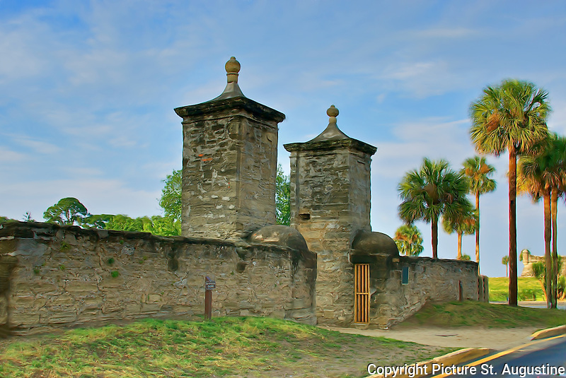 The St. Augustine City Gates on a sunny afternoon. St. Augustine is the oldest continually occupied in the United States. In 2015 St. Augustine will celebrate the 450th birthday of its founding.