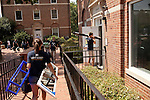 "August 20, 2011. Chapel Hill, NC.. American Eagle student ""brand ambassadors"" and volunteers helped spread awareness of the brand by helping incoming students move in and give away coupons.. Many companies have increased their efforts to reach the youth market by employing popular college students to raise the awareness of the brand by peer to peer marketing on campus' around the country."