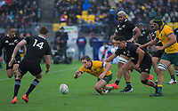 Australia's Michael Hooper chases loose ball during the Bledisloe Cup rugby union match between the New Zealand All Blacks and Australia Wallabies at Sky Stadium in Wellington, New Zealand on Sunday, 11 October 2020. Photo: Dave Lintott / lintottphoto.co.nz