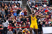 STANFORD, CA - March 7, 2020: Kordell Norfleet of Arizona State University celebrates during the 2020 Pac-12 Wrestling Championships at Maples Pavilion.