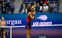 10th September 2021: Billie Jean King Centre, New York, USA: USA Open tennis championships, womens singles semi-final Emma Raducanu versus Maria Sakkari: Raducanu celebrates her win
