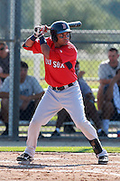 Boston Red Sox minor league infielder Ryan Dent (19) during a game vs. the Minnesota Twins in an Instructional League game at Lee County Sports Complex in Fort Myers, Florida;  October 1, 2010.  Photo By Mike Janes/Four Seam Images
