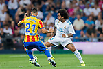 Marcelo Vieira Da Silva (r) of Real Madrid battles for the ball with Martin Montoya Torralbo of Valencia CF during their La Liga 2017-18 match between Real Madrid and Valencia CF at the Estadio Santiago Bernabeu on 27 August 2017 in Madrid, Spain. Photo by Diego Gonzalez / Power Sport Images