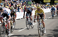 yellow jersey / GC leaderJulian Alaphilippe (FRA/Deceuninck - QuickStep) racing towards the finish, but unable to keep stage winner Van der Poel of snatching the yellow off him<br /> <br /> Stage 2 from Perros-Guirec to Mûr-de-Bretagne, Guerlédan (184km)<br /> 108th Tour de France 2021 (2.UWT)<br /> <br /> ©kramon