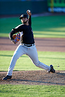 Grand Junction Rockies starting pitcher Alfredo Garcia (39) delivers a pitch to the plate against the Ogden Raptors at Lindquist Field on June 25, 2018 in Ogden, Utah. The Raptors defeated the Rockies 5-3. (Stephen Smith/Four Seam Images)