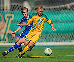 28 September 2013: University of Vermont Catamount Midfielder Danny Childs, a Sophomore from Colorado Springs, CO, in action against the Hartwick College Hawks at Virtue Field in Burlington, Vermont. The Catamounts shut out the visiting Hawks 1-0. Mandatory Credit: Ed Wolfstein Photo *** RAW (NEF) Image File Available ***