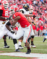 The Georgia Bulldogs beat the App State Mountaineers 45-6 in their homecoming game.  After a close first half, UGA scored 31 unanswered points in the second half.  Georgia Bulldogs running back Todd Gurley (3) scores