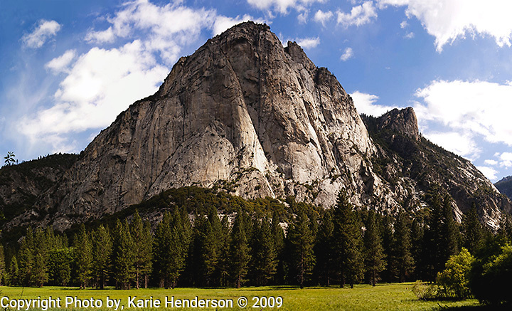 A panorama image made from four compiled photographs using a Nikon D3 and Nikon 14-24mm zoom lens, of Zumwalt Meadow in Kings Canyon National Park, California.