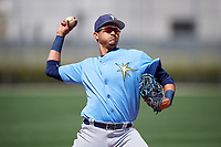 Tampa Bay Rays Carlos Vargas (95) warms up before a Minor League Spring Training game against the Minnesota Twins on March 17, 2018 at CenturyLink Sports Complex in Fort Myers, Florida.  (Mike Janes/Four Seam Images)