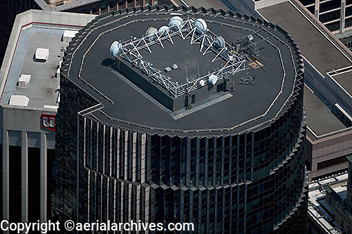 aerial photograph rooftop telecommunications 101 California Street office tower San Francisco