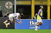 26th September 2020, San Siro Stadium, Milan, Italy; Serie A Football, Inter Milan versus Fiorentina;  The goal celebrations for the goal scored by Federico Chiesa for 2-3 to Fiorentina
