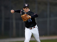 Riverview Rams third baseman Sean Sugg (21) during warmups before a game against the Sarasota Sailors on February 19, 2021 at Rams Baseball Complex in Sarasota, Florida. (Mike Janes/Four Seam Images)