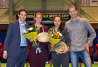 December 20, 2014, Rotterdam, Topsport Centrum, Lotto NK Tennis, Womens doubles winners Quirine Lemoine and Eva Wacano with on the left tounament director Guus van Berkel and right tournamen leader Roy Kriujer<br /> Photo: Tennisimages/Henk Koster