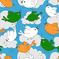 """Birds singing and flying in clouds and sky seamless pattern, birds with India flag colors.<br /> <br /> Suitable for projects related to Indian Republic Day (26th January), Indian Independence Day (15th August) or other Indian patriotic themes.<br /> <br /> Available also as latest EPS format (Scalable to infinite size) and PNG format.<br /> <br /> WANT TO SEE HOW THIS WILL  LOOK WHEN ARRANGED AS A PATTERN?<br /> <br /> You can find the image of whole pattern put together in this gallery only.<br /> <br /> Tip: It should be the image next to this one, or, just search """"seamless+birds+India""""!"""