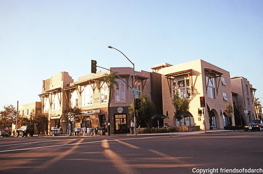 San Diego: Kensington Park Plaza, Adams Ave. & Marlborough Drive, 1999.  Allard Jansen, Architect & Developer.