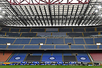 FC Internazionale new logo is seen on the stands prior to the Serie A football match between FC Internazionale and Cagliari Calcio at San Siro stadium in Milano (Italy), April 11th, 2021. Photo Andrea Staccioli / Insidefoto