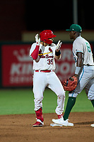 Palm Beach Cardinals Carlos Soto (35) on second base after hitting a double during a game against the Daytona Tortugas on May 4, 2021 at Roger Dean Chevrolet Stadium in Jupiter, Florida.  (Mike Janes/Four Seam Images)