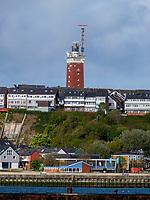 skyline  mit Leuchtturm, Blick von Düne, Insel Helgoland, Schleswig-Holstein, Deutschland, Europa<br /> skyline with lighthouse, seen from dune, Helgoland island, district Pinneberg, Schleswig-Holstein, Germany, Europe