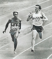 1976 FILE PHOTO - ARCHIVES -<br /> <br /> Listen here: Sprinter Peter Petrov of Bulgaria seems to have a word for U.S. competitor Harvey Glance as they come on down the line in second round of 100-metre eliminations yesterday. It didn't bother the American; who won the heat in 10.23. Petrov finishe third; good enough to get into semi-finals.<br /> <br /> Bezant, Graham<br /> Picture, 1976<br /> <br /> 1976<br /> <br /> PHOTO : Graham Bezant - Toronto Star Archives - AQP