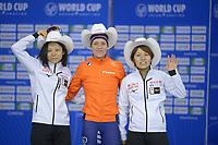 SPEEDSKATING: Calgary, The Olympic Oval, 08-02-2020, ISU World Cup Speed Skating, Podium 500m Ladies Division B, Miho Takagi (JPN), Letitia de Jong (NED), Konami Soga (JPN), ©foto Martin de Jong