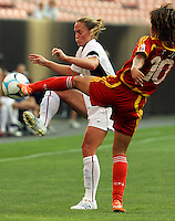 "Christie Rampone vs Han Duan.during the first of a six game ""Send Off Series"" between the US Women's National Team and China at Cleveland Browns Stadium in Cleveland, Ohio."