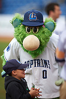 Lake County Captains mascot Skipper before a game against the Fort Wayne TinCaps on May 20, 2015 at Classic Park in Eastlake, Ohio.  Lake County defeated Fort Wayne 4-3.  (Mike Janes/Four Seam Images)
