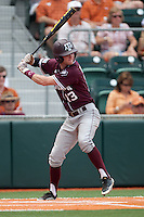 Texas A&M Aggies outfielder Krey Bratsen #13 at bat during the NCAA baseball game against the Texas Longhorns on April 28, 2012 at UFCU Disch-Falk Field in Austin, Texas. The Aggies beat the Longhorns 12-4. (Andrew Woolley / Four Seam Images).