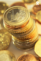 Stack of euro coins, close-up (Licence this image exclusively with Getty: http://www.gettyimages.com/detail/200337516-001 )