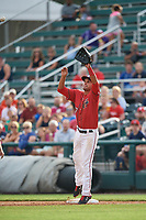 Harrisburg Senators first baseman Drew Ward (17) stretches to try to receive a throw during a game against the Akron RubberDucks on August 18, 2018 at FNB Field in Harrisburg, Pennsylvania.  Akron defeated Harrisburg 5-1.  (Mike Janes/Four Seam Images)